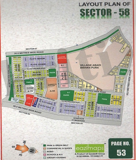 sector-58 Noida Map